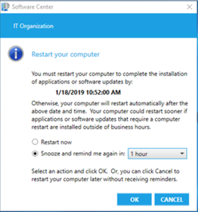 SCCM 1902: Replace toast notifications with dialog window